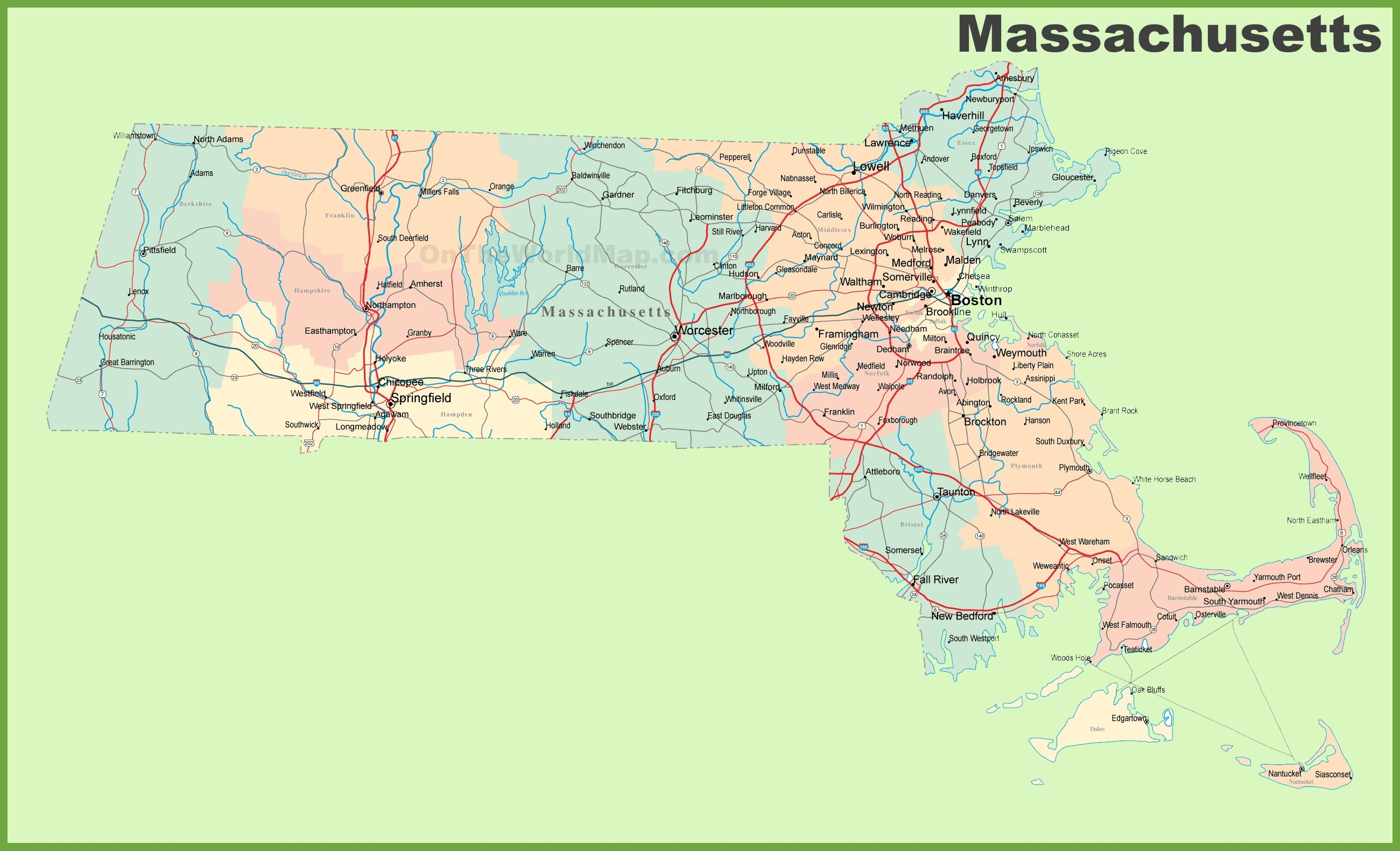 Massachusetts Map With Cities road map of massachusetts with cities ⋆ Blue Sky